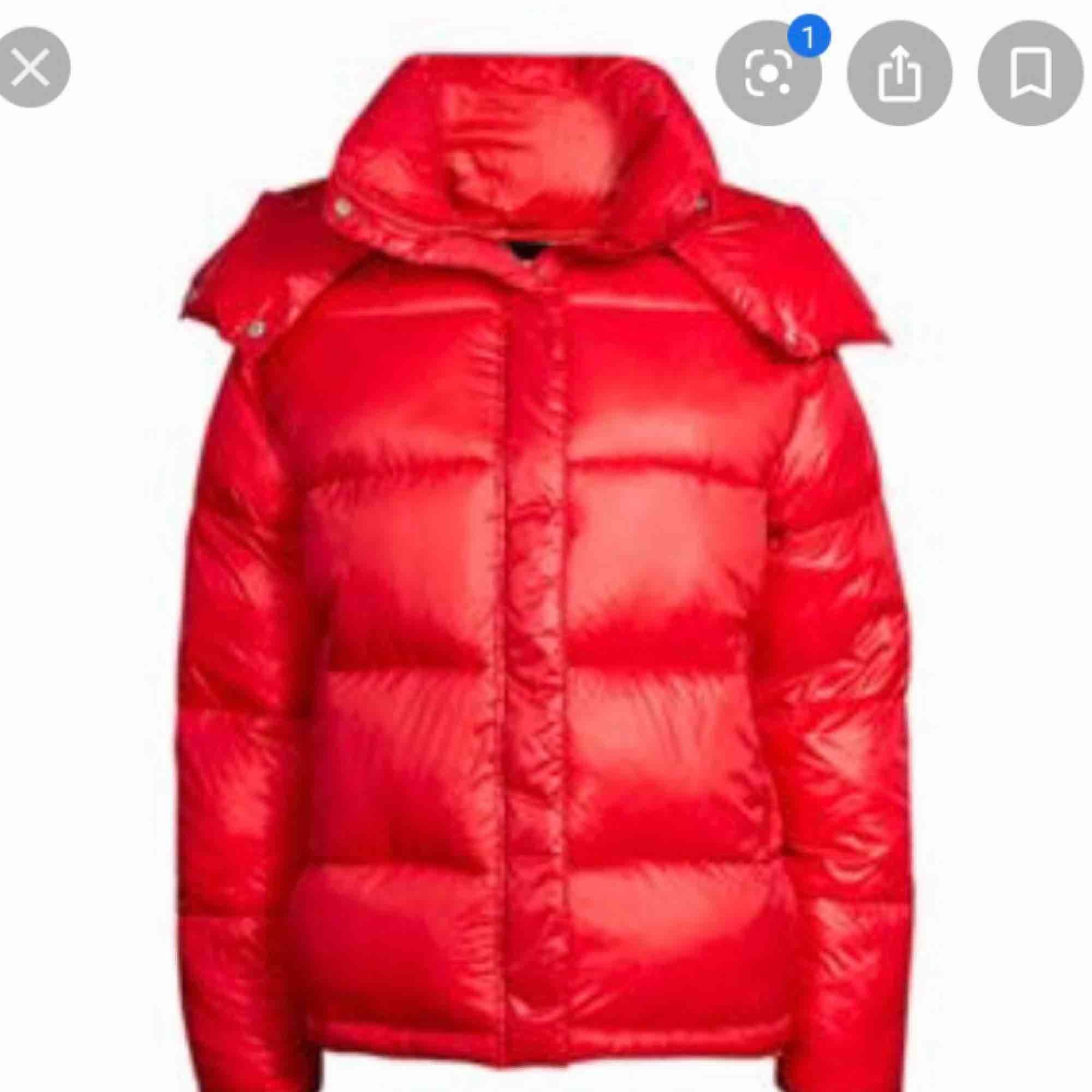 Röd trendig dunjacka från Bikbok (ej äkta dun såklart!!) Supervarm, skön och snygg! Möts upp i Stockholm eller skickar!. Jackor.