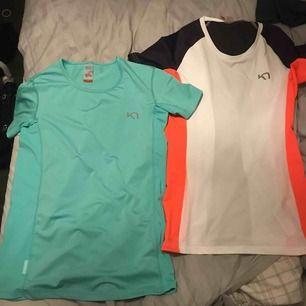 Träningskläder alla oanvända & i nyskick, säljs då de inte kommer till användning.  T-shirts från Kari Traa, finns två st strl S i båda  Salomonshorts strl S  Kaari Traa tights strl S alla köpta dyrt, passa på! för bättre bilder kontakta mig! 🌸✨