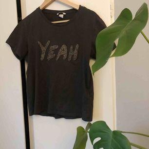 Mörkgrå T-shirt med ett tryck i glitter vilket är en cool detalj⚡️ t-shirten är i mycket bra skick, frakt tillkommer!🍬