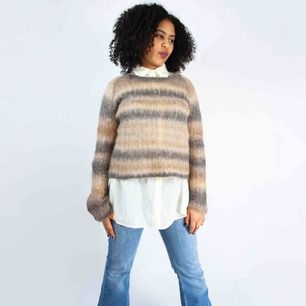 Filippa K striped sweater in mohair wool mix in beige and brown  SIZE & FIT Label: M, fits XS-M Model: 161/S Measurements (flat): length: 55 pit to pit: 49 Free shipping! Read the full description at our website majorunit.com No returns