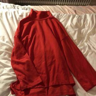 Röd tröja med krage. Säljs för jag knappt använt den. Vid i armarna.