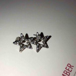 Stjärnörhängen i silver med kristaller på