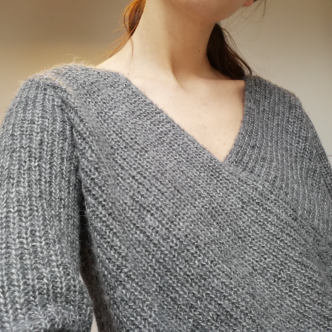 Vila Wrap Match Knit Top i stl S. Grå stickad tröja med omlottskärning gjord i ull/mohair/alpaca-blandning. Frakt 63 kr. . Toppar.