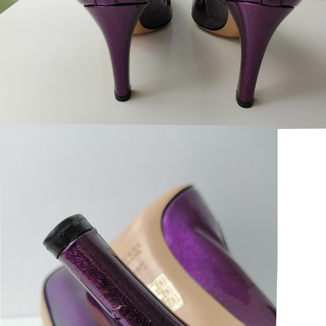 Gucci pumps, excellent condition, dustbag, authentic, size 39, insole 26cm, high heels 9cm, purple, write me for more info and pics🙂. Skor.