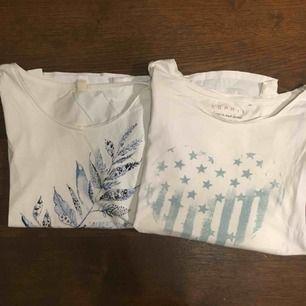 Två vita T-shirts med tryck från Esprit. En för 20kr och båda för 35kr. Frakt tillkommer :)