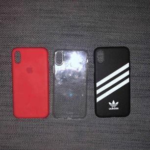 iPhone X skal, alla för 200kr. (Röd=200, adidas=100kr, genomskinligt skal=50kr)