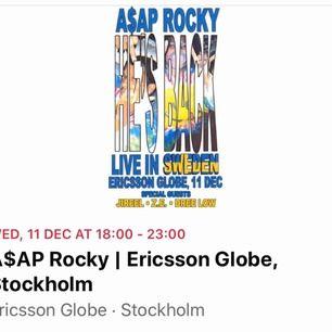 Säljer en ståplats biljett till A$AP Rocky konsert i Stockholm den 11/12. BUDGIVNING som gäller med start från 550kr. Slutar den 21/11. Har en till biljett om du vill ha två!