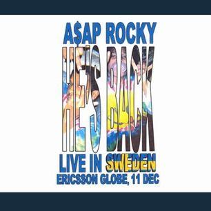 En biljett till A$ap rocky i globen 11 december 2019! Säljer efter att min ena kompis fick förhinder. STÅPLATS! Biljetten får du i pappersformat, skickas eller möts upp i centrala Stockholm. PRIS KAN DISKUTERAS