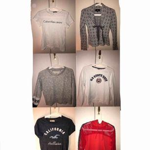 Säljer ett paket med sex stycken tröjor från: Calvin Klein, Chelsea, hollister, JC, newyoker. Alla tröjorna är i mycket bra skick ingen som är utsliten eller överanvänd osv. Vill man ha mer bilder eller är intresserad får man skriva. Pris kan diskuteras.