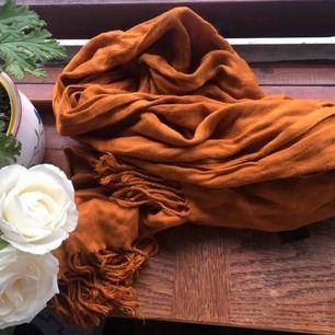 Höstligt färgad halsduk med fransar i båda ändarna. Sparsamt använd och i mycket fint skick. Vid frakt står köparen för kostnaden 🎀