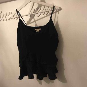 Jättesött linne med volanger nertill från H&M i storlek 40 men passar även mig som är 36.  Sitter jättefint på  Inga fel, vid intresse skickas fler bilder 🌸