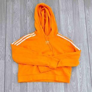 Cropped orange adidas Hoodie storlek XS i använt men fint skick.   Möts upp i Stockholm eller fraktar.  Frakt kostar 63kr extra, postar med videobevis/bildbevis. Jag garanterar en snabb pålitlig affär!✨