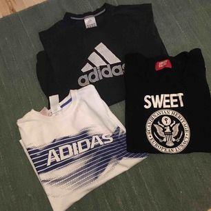 T-shirt packet med 3st t-shirts! Adidas svart - stl M Adidas vit - stl S Sweetsktbs - stl L Betalning sker via swish och köpare står för ev frakt!