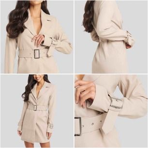 """jättesnygg """"wide belted blazer dress beige"""" från NA-KD. lappen är kvar som man ser på bild 2, alltså aldrig använd, endast testad! (Ordinarie pris 799kr)  köparen står för frakt!"""