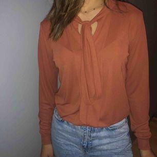 En härlig tegelfärgad blus som man knyter vid halsen (visas på bilden). Använd sparsamt👍🏼  Frakt tillkommer + pris kan diskuteras
