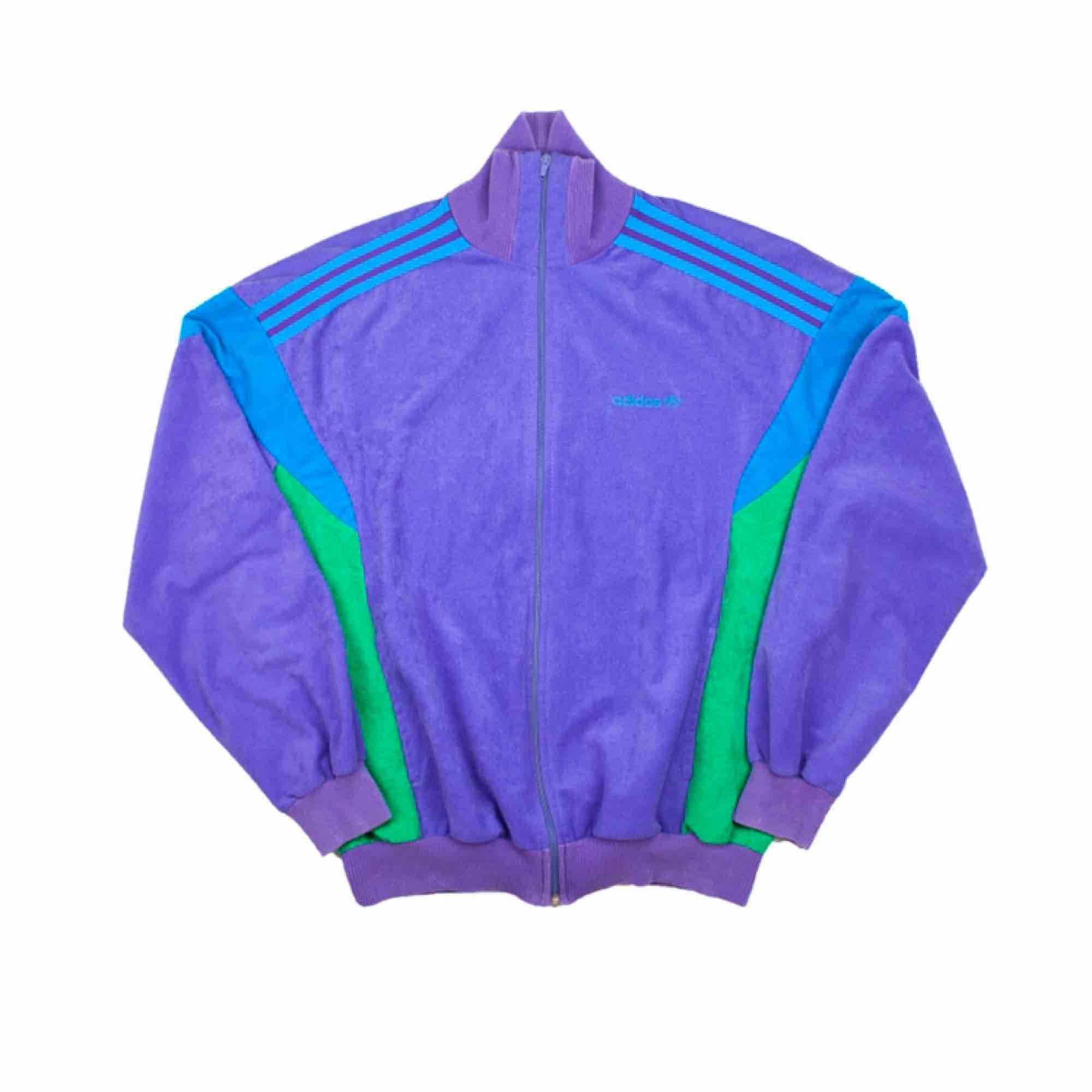 Vintage 80s 90s Adidas unisex velvet track jacket in purple SIZE Label: UK M, fit best XS-M Measurements (flat): Length: 64 Pit to pit: 59 Sleeve inseam: 48 Free shipping! Read the full description at our website majorunit.com No returns.. Jackor.