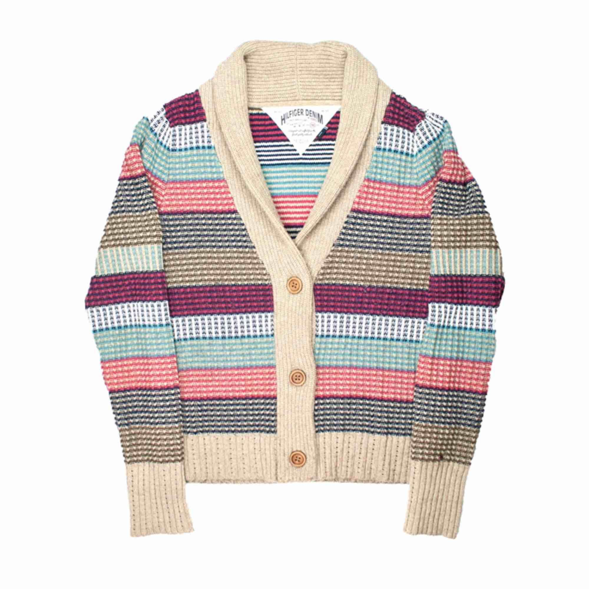 Tommy Hilfiger Denim cotton wool blend striped cardigan Label: L, but fits best XS-S Model: 165/XS Measurements (flat): Length: 65 cm pit to pit: 48 cm Price is final! Free shipping! Ask for the full description! No returns!. Tröjor & Koftor.