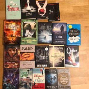 Säljer en hel del av mina gamla böcker! De har gjort sitt jobb hos mig och söker nu en ny läsare :) De flesta är inom young-adults-kategorin och passar 12 år och uppåt.  Pocket:30kr Inbunden:50kr