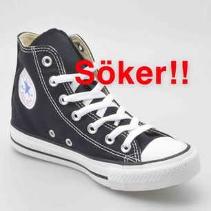 Hej! Söker ett par svarta Converse i storlek 38 eller 39! Hör gärna av er om ni säljer ett par☺️☺️