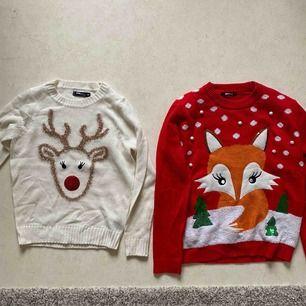 Fina jultröjor. Röd från ginatricot. Storlek m på röd och s på vit. Frakt betalar köparen. Möts i Stockholm.
