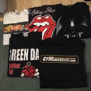 Alla är t-shirts förutom the Rolling Stones som är ett linne, ALLT KÖPS I ETT PAKET! 😄 betalning sker via swish och köpare står för ev frakt!📦🚚
