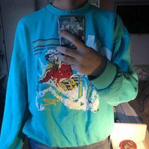 Blå/grön sweatshirt med skidmotiv