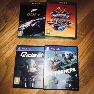 Roliga spel från både Xbox One och PS4!   (XBox One) FORZA 6: 99kr (XBox One) Skylanders Superchargers: 29kr (PS4) Ride 2: 79kr (PS4) De Formers: 50kr