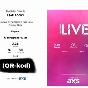 Asap Rocky biljett! sittplats väldigt nära scen. köpt för c.a 800kr. Digital biljett