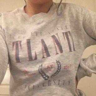 Grå sweatshirt med tryck som jag köpte på bershka för nått år sedan! Den är i väldigt sparsamt använd så skicket är väldigt bra! pris: 65kr + frakt🧚🏽♂️⚡️✨