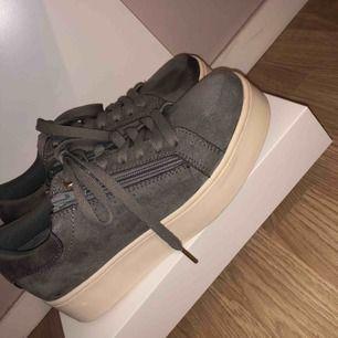 Snygga gråa samet skor