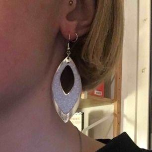 Silvriga örhängen med glitter därfram. Lite slitna, se tredje bild. Köpare står för frakt 9kr. Rengör innan jag skickar☺️