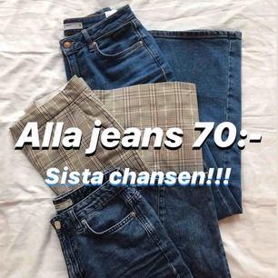 👖Tre par snygga jeans söker nya ägare- 70kr styck! Frakt tillkommer, kan sänka pris vid snabb affär 💙 Finns passforms bilder på vår profil :) ❗️wideleg sålda❗️Obs! Coulotte är i storlek 36, skrev fel på bilden.