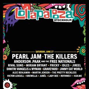 En biljett till lollapalooza på lördagen, 27/06💕 org pris är 1195 kr! Kan även tänka mig att byta mot en biljett till fredagen😁
