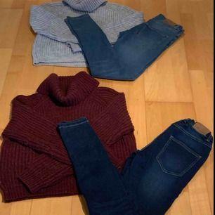 Jag säljer två stickade, mysiga tröjor och två väldigt sköna jeans som sitter högt i midjan.  Om ni vill ha fler bilder och mer info så kan ni skicka till mig privat.  OBS köparen står för frakten!