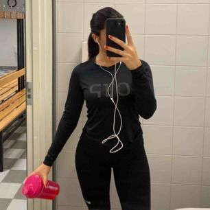 2 träningströjor i träningsmaterial. Finns i svart och beige, en för 100 båda för 150kr. Finns hål för tummarna för lättare grepp när man till exempel lyfter vikter
