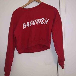 Skitsnygg croppad hoodie med trycket BAEWATCH. Onesize men passar väl en s-m. Riktigt bra skick och ganska tunn i materialet. Köparen står för frakt!😊😊