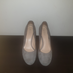 Grey, shoes, Wear very close, still very beautiful and confortable to wear.  In suede, elegant, heel 12