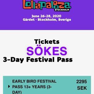 Söker EN 3-dagarsbiljett till Lollapalooza Festival i sommar 2020! Hör jättegärna av er om ni har en biljett över<3