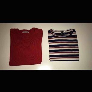 Snygga långärmade tröjor från Gina och Hm. 1:a, röd stickad tröja från Gina i XS, 40kr 2:a, randig ribbad tröja från Hm i S, 30kr Kan mötas upp i Stockholm eller frakta!