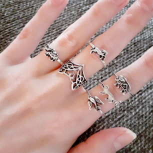 6st ringar-Djurset! Bohemisk vintagestil! Material: Silverfärgad metall Märke:Trendy forest Frakt: 11:-
