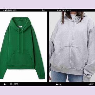 Två hoodies från Weekday, en grön och en grå 😋 Sitter väldigt oversize! Ganska använda men inte trasiga eller så. En för 150, båda för 250 💕 GRÖNA ÄR SÅLD