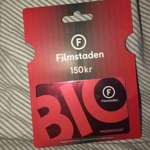 Säljer ett oanvänt presentkort på filmstaden, 150kr på kortet, 100 + frakt