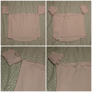 Ribbad Off shoulder tröja. (Köparen står för frakten 18kr) (Storlek L mer som en större S)