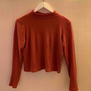 Croppad tröja med krage. Skulle beskriva färgen som burnt orange. Den är lös i passformen.   Jag kan mötas upp i Borås, eventuellt Göteborg, annars står köparen för frakten.