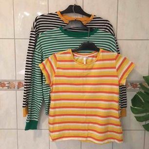 Säljer 2 stycken långärmadetröjor från Hm som är i likadan modell men olika färger & 1 t-shirt från Lager157. De är använda 2-3 ggr bara🦋De kostar 60kr styck eller 150kr för alla🌼