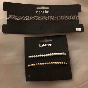 En choker som är transparent med en rosa ton. 2st glitter armband som är i nyskick. Båda för 20kr eller 10kr st. Frakt +11kr.
