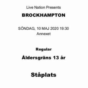 biljett till brockhampton, säljs p.g.a att jag ej har någon att gå på konserten med. en biljett kostar egentligen 550kr. priset kan möjligtvis diskuteras vid snabbt köp.