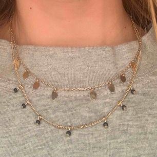 Säljer de här snygga halsbandet som är i rätt bra skick💖 de har dock åkt av en gullig och en svart sak på halsbandet men det var redan så när jag köpte det. Nypris: 80 kr säljer: 30 kr  Kontakta mig vid intresse och för fler bilder🥰