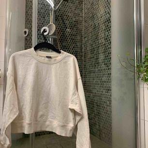 Vit/cream sweatshirt med beige sömmar i lite kortare modell, knappast andvänd! Jättefin och lite större i storleken så man kan stylea med skjorta/polotröja under❤️ frakt tillkommer!