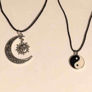 Halsband med olika motiv. Ena med en sol och en måne, andra med yin och yang! 50kr+frakt eller båda för 80kr